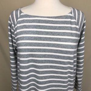 Gray and White Striped Midi Maternity Dress